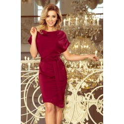 Асиметрична рокля в цвят бордо 240-2