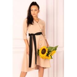 Асиметрична рокля в цвят камел Miramen
