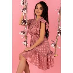 Асиметрична рокля в розов цвят Liana