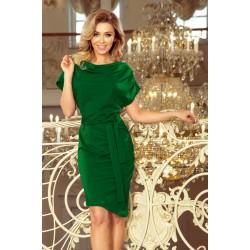 Асиметрична рокля в зелен цвя 240-1