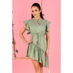 Асиметрична рокля в зелен цвят Liana