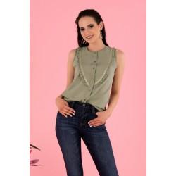 Блуза без ръкави в цвят каки Nenaria