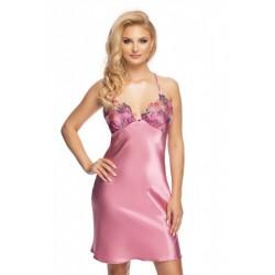 Елегантна сатенена нощница Shelby в розов цвят